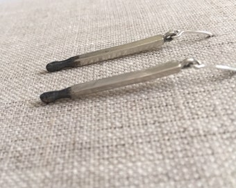 Old Flame Sterling Matchstick Earrings in Sterling Silver