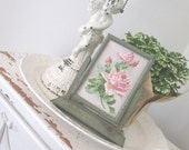 Vintage Swing Frame * Green Metal * Shabby French Cottage * C. Klein Postcard