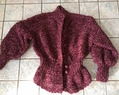 BASIA DESIGNS Burgundy Peplum Cardigan Hand Knit  in Special Sale Section