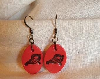 Coral/Melon Polymer Bird Earrings
