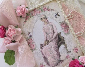 Rose Travel Journal, Edwardian Lady, Garden Notebook, Shabby Notebook, Lace Mini Journal, Fabric Book