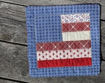 Flag Coaster kitchen coaster pot holder trivet patchwork  table decor mug rug candle mat snack mat coffee mug mat handmade usa