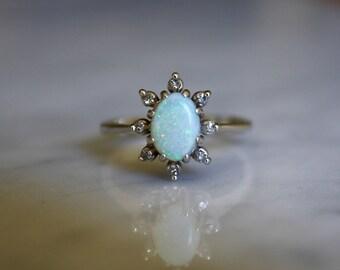 ANTIQUE DIAMOND OPAL Art Deco era 14k white gold diamond halo engagement ring circa 1940s size 5