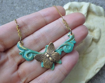 Boho Butterfly Necklace ~ Butterfly Pendant ~ Bohemian Jewelry ~ Patina Jewelry ~ by Upsweptillusions