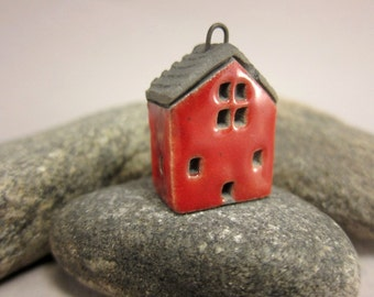 RED Cottage...Raku Pendant / Necklace