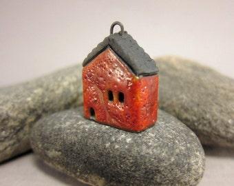 Lava RED Cottage...Raku Pendant / Necklace