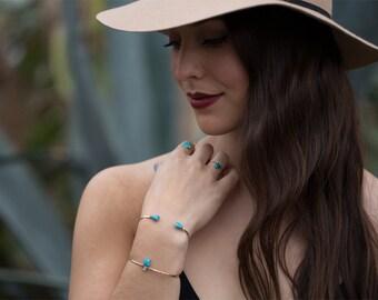 Vertical Turquoise + Diamond Cuff