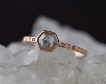 Natural Rose Cut Hexagon Diamond Ring