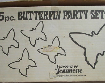 Vintage Jeannette Glass 5pc Crystal Butterfly Party Set in Box