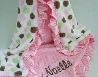ON SALE Pink and Brown Polka Dot Minky Blanket, Pink Brown Mod Dot Minky Baby Blanket, Pink Ruffle Blanket