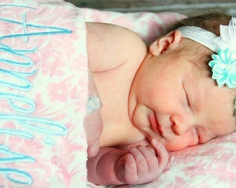 Pink Damask and light Turquoise aqua Minky Baby Blanket for Girl