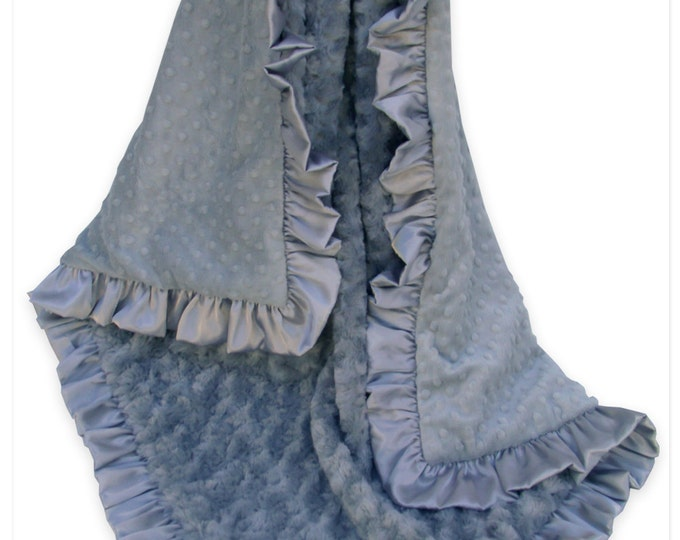 Charcoal Gray Minky Dot and Rose Swirl Baby Blanket, 3 Sizes