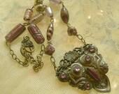 Art Deco Assemblage Necklace - Vintage Bronze and Amethyst Belt Buckle