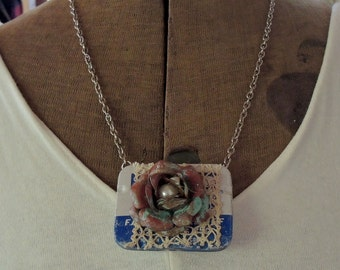 Vintage Tiny Tin Treasure Box Memento Locket Assemblage Necklace, Peek Inside, Baby's First Tooth, Lock of Hair