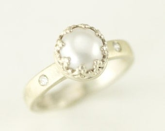 Pearl and Diamond Ring - Sterling Silver Engagement Ring - The Posh Pearl