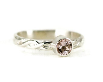 Morganite Stacking Ring - 5mm or 6mm Morganite Sterling Ring with Custom Band Choices