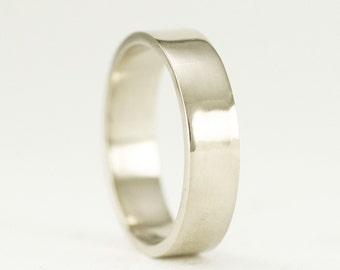 14k Palladium White Gold Wedding Ring - 5 x 1.25mm White Gold Band - Nickel Free White Gold Ring