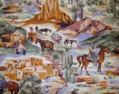 Cowboy fabric South West Fabric Horse Fabric Wild West Fabric Cotton Novelty Fabric Quilting Fabric Concord Fabrics BTY By The Yard