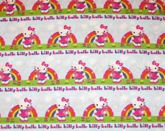 Hello Kitty Fabric Hello Kitty & Teddy Bear Fabric Rainbow Fabric Licensed Sanrio Kawaii Cat Pink Blue Green 2 Yards