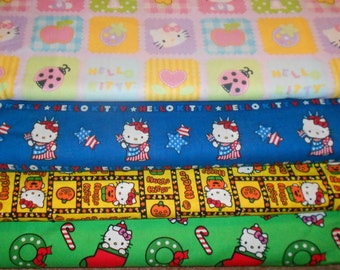 HELLO KITTY #11  Fabrics, Sold INDIVIDUALLY not as a group, by the Half Yard