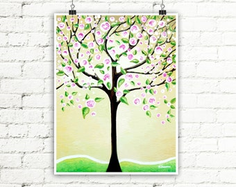 Green Tree of Life Art Print Wall Art, Pink Cherry Blossoms Tree Whimsical Art Living Room Decor