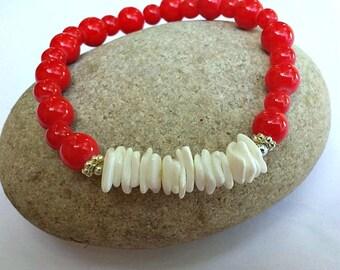 Beaded stretch bracelet - red bracelet - nautical jewelry - shell bracelet - stacking bracelet - red and white - summer jewelry -  shells