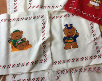 8 A Beary Merry Christmas Book Patches - 8 inch blocks, Vintage, Teddy Bear, Holiday, quilt blocks, candy cane, train conductor, sweater DIY