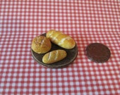 Dollhouse breads, Miniature bread, breadboard, Country bread, hand finished, twelfth scale, dollhouse food