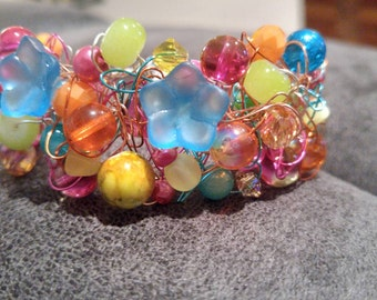 Vibrant Crocheted Wire Bracelet