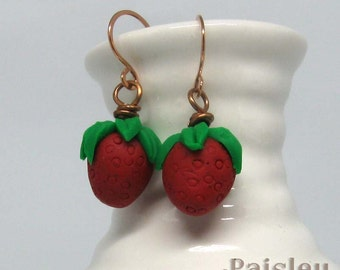 Strawberry earrings | polymer clay dangles on copper wires | botanical jewelry