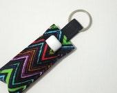 Lip Balm Key chain, Chapstick Holder, fabric chap stick cozy keychain,ChapStick Keychain,Lipbalm pouch, lipstick case cozy- Multi Chevron 2