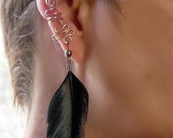 Right Ear cuff with Dangle Black Feather non pierced