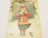 Victorian Christmas Card Girl in the Snow Antique Art Repro