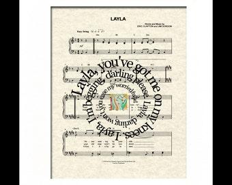 Layla Art Print, Layla Song Lyric Art, Layla Sheet Music Art, Layla by Eric Clapton Art Print, Spiral Word Art, Spiral Lyric Art