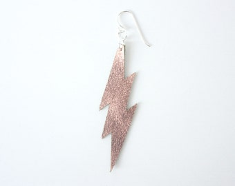 Leather Lightning Bolt Single Earring - Metallic Copper Leather with Sterling Silver