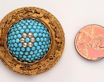 Antique Persian Turquoise, 18kt Gold Brooch, Cultured Pearls:  Etruscan Revival, Mid to late 1800's