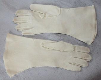 Vintage Women's Dress Gloves, Off White, Above the Wrist, Shalimar, 1950's