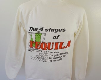 sale Vintage 4 STAGES of TEQUILA sweatshirt size large made in USA 1970's