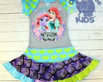 A dress made out of authentic ARIEL  tshirt super cool funky recycled upcycled  pieced  size 3/4