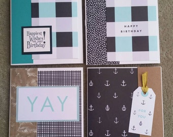 Set of 4 greeting cards - black & turquoise