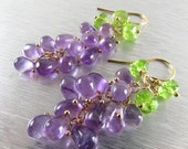 BIGGEST SALE EVER Amethyst and Peridot Cluster Dangle eEarrings, Grape Clusters