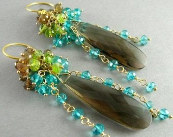 20 % Off Smokey Quartz, Andalusite, Vesuvianite and Teal Quartz Gemstone Cluster Gold Filled Earrings