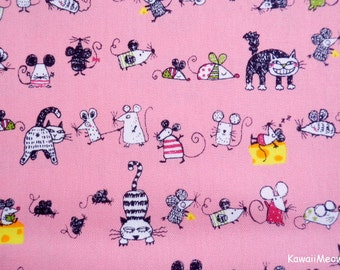 Kawaii Japanese Fabric - Cats & Rattus on Pink - Half Yard (ta20160427)