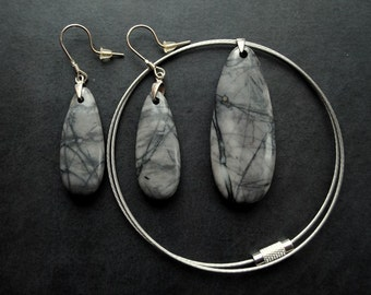 Set - Earrings and Pendant  - Picasso Jasper, silver - by Schneider Gallery