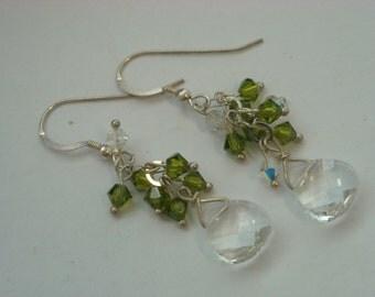 sterling silver crystal earrings  ( B 59 )