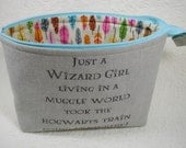 Open Wide Flat Bottom Zipper Pouch... Wizard Girl Pouch, Harry Potter Inspired