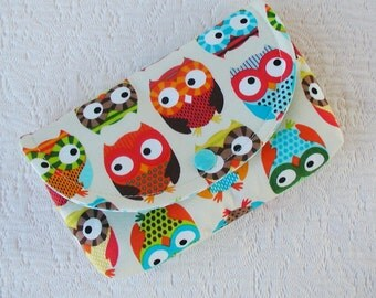 Large Snap Pouch...  Bright Owls in Cream