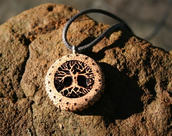 Juniper Wood Tree of Life Necklace-- Wooden Jewelry,