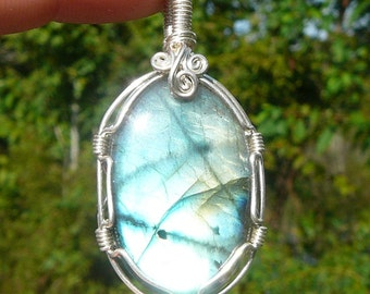 Large Labradorite and Sterling Silver Wire Wrapped Pendant ~Natural Stone Jewelry, Healing Stone, Handcrafted, Unique Pendant, Earthy, Gypsy