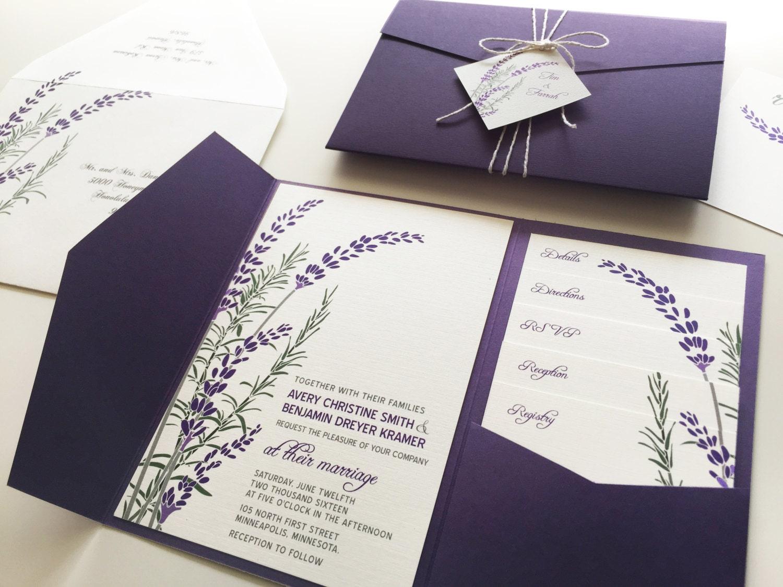 Wedding Invitation Pocket Fold: Lavender Wedding Invitation Sample Purple Pocketfold Tags